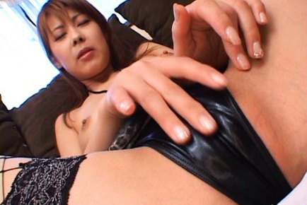 Sakurako Asian touches her shaved and fresh pink over leather scanty. Teen porn gallery. Young porn newbie Sakurako