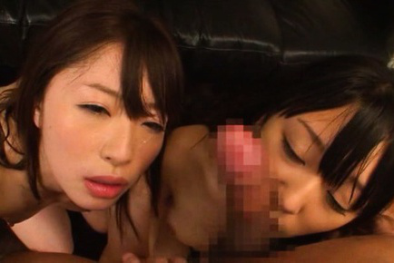 Japanese av model. Japanese AV Model and nymph lick same cock and ride it on top