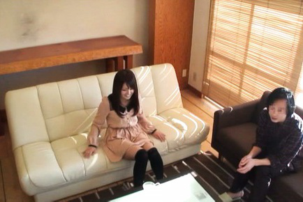 Japanese av model. Japanese AV Model in long socks shows her poonanie in pink panty