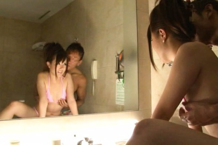 Japanese av model. Japanese AV Model takes pink bath suit off to shower her boobies