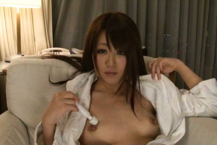 Japanese av model. Japanese AV Model receives dildo as gift and uses it on cans
