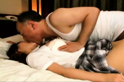 Japanese av model. Japanese AV Model is touched all over legs while is kissed by man