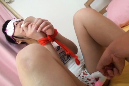 Hitomi miyano. Hitomi Miyano Asian with eyes covered gets dildo over scanty
